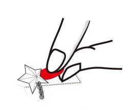 撕起紅色貓身手把,此時耳環會一同被撕起。