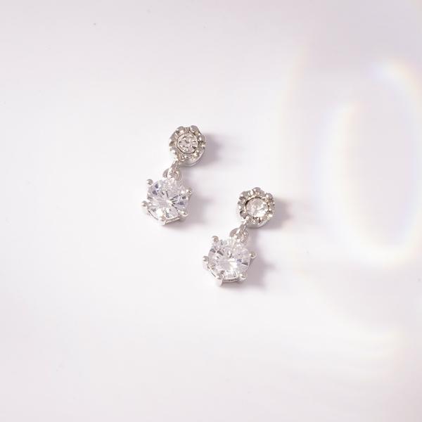 雙生六角花型鋯鑽 無耳洞黏貼式耳環