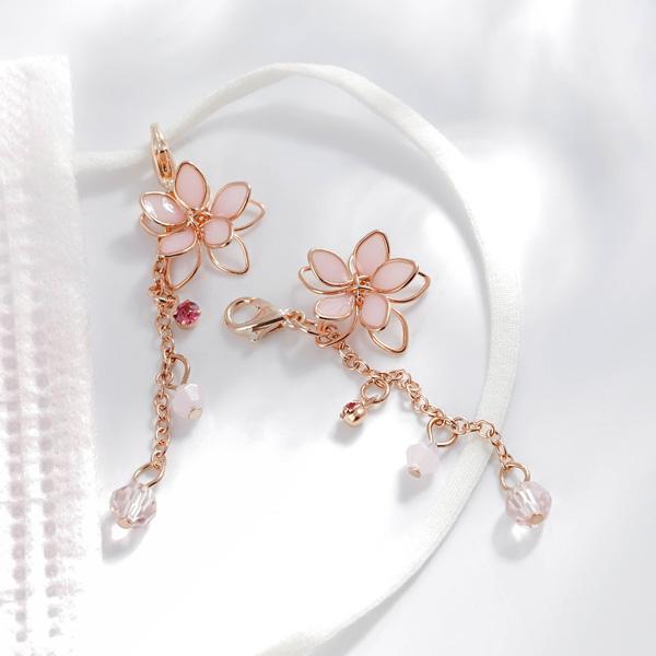 清透粉嫩雙層櫻花口罩吊飾