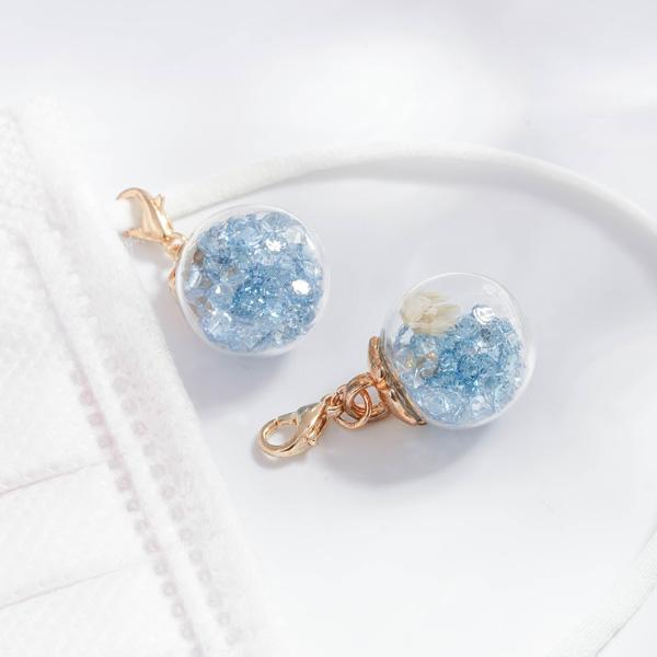 彩色水晶透明玻璃球乾花口罩吊飾