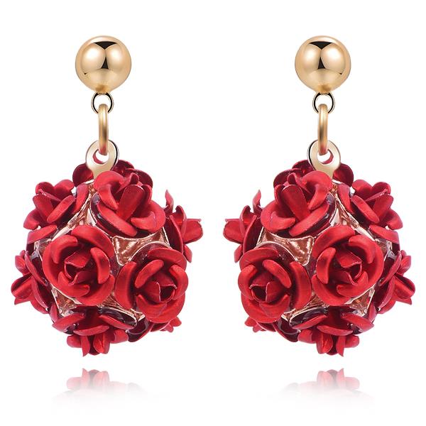 優雅玫瑰花朵 耳針/無耳洞黏貼式耳環