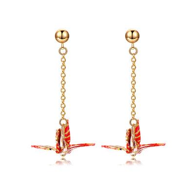 【純手工製作】日系和風千紙鶴黏式耳環