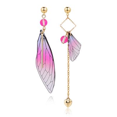 不對稱漸層蝴蝶翅膀 耳針/無耳洞黏貼式耳環