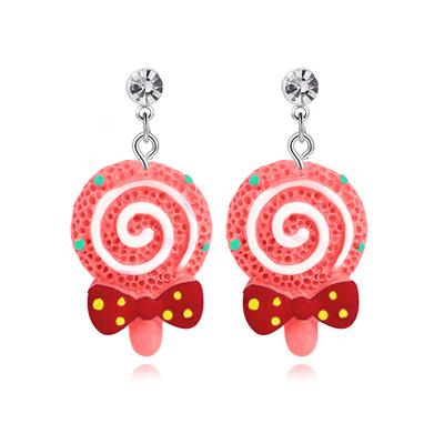 甜蜜蝴蝶結棒棒糖 無耳洞黏貼式耳環
