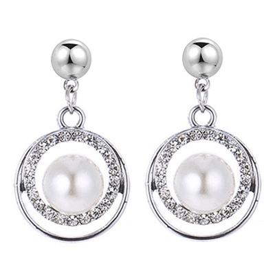 耀眼幾何珍珠水鑽 無耳洞黏貼式耳環