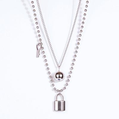時尚街頭鎖頭鑰匙多層次項鍊