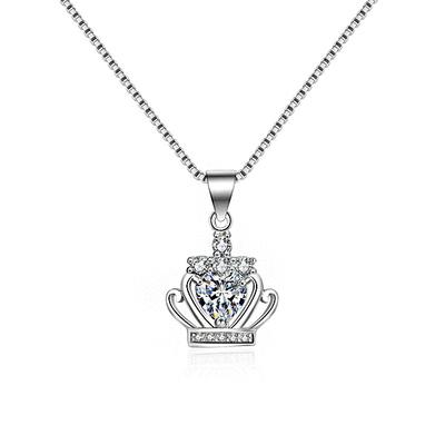 奢華耀眼皇冠鑲鑽合金項鍊