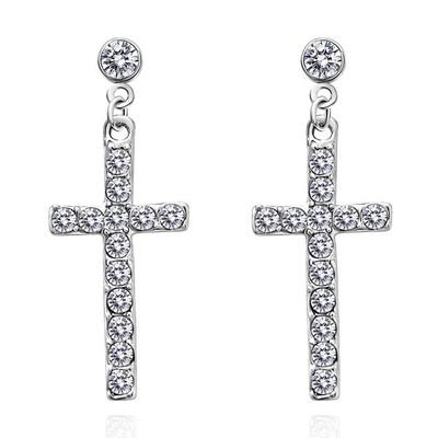 神聖祝福十字鑲鑽 無耳洞黏貼式耳環