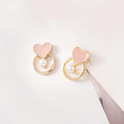韓系簍空愛心珍珠 無耳洞黏貼式耳環