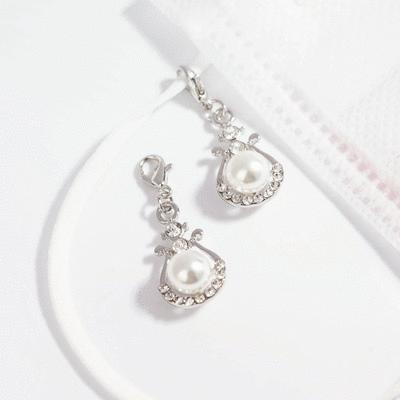 優雅U形鑲鑽珍珠口罩吊飾