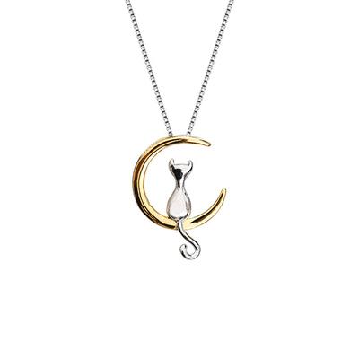 新月上的小貓合金項鍊