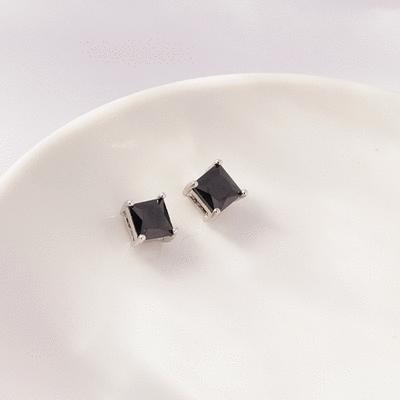 韓流方形鑲鑽 無耳洞黏貼式耳環