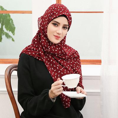 穆斯林雪紡休閒多色印花款長頭巾