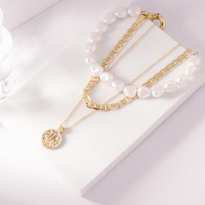 個性潮流珍珠鍊條多層次項鍊