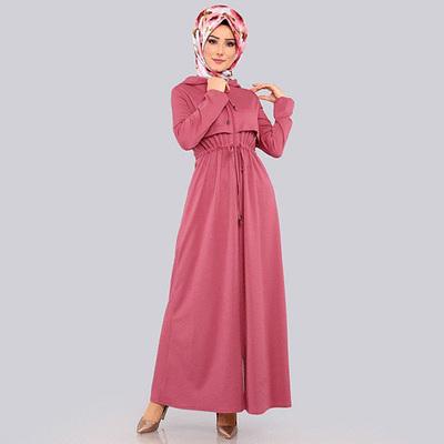 穆斯林氣質連帽拉鍊外套連衣裙