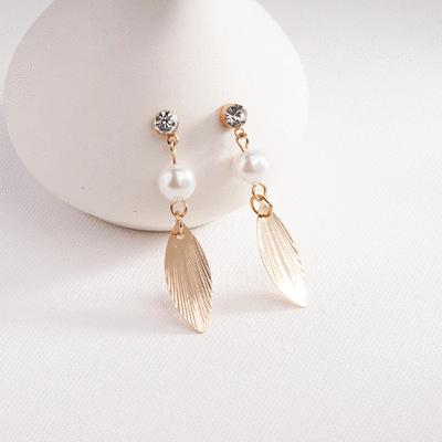 森林系氣質珍珠樹葉 耳針/無耳洞黏貼式耳環