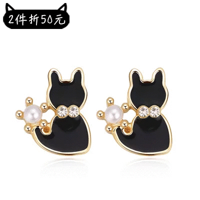 【2件折50元】優雅珍珠小黑貓 耳針/黏式耳環
