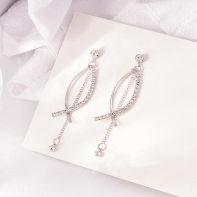 浪漫幾何鑲鑽流蘇 耳針/無耳洞黏貼式耳環