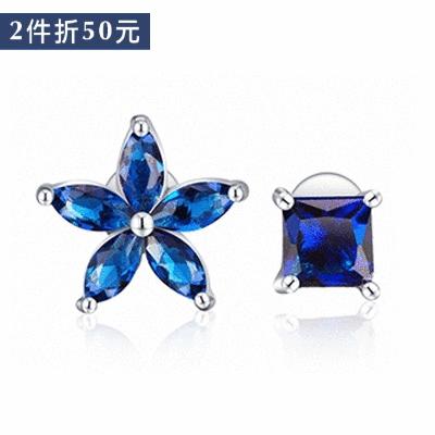 【2件折50元】韓版不對稱方鑽花瓣 無耳洞黏貼式耳環