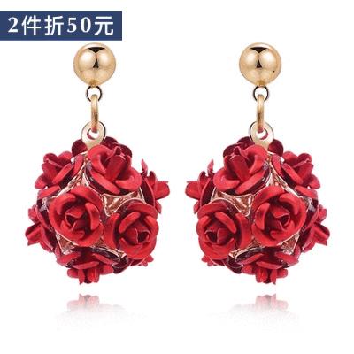 【2件折50元】優雅玫瑰花朵 耳針/無耳洞黏貼式耳環