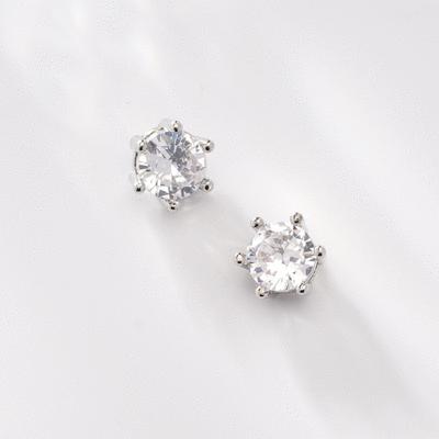 時尚簡約六爪鋯鑽 無耳洞黏貼式耳環 (7mm)