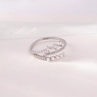氣質三層珍珠水鑽開口戒指