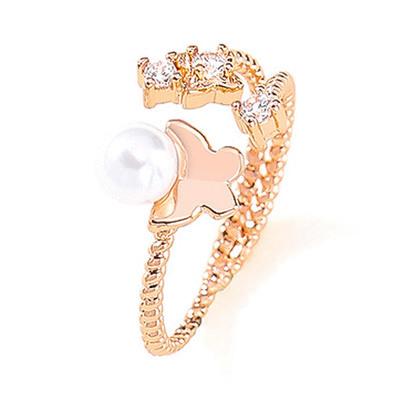翩翩蝴蝶珍珠水鑽開口戒指