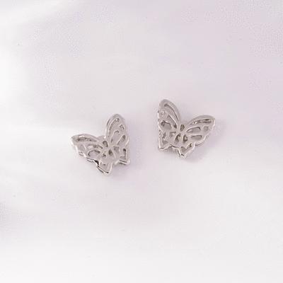 雙層立體簍空蝴蝶 無耳洞黏貼式耳環