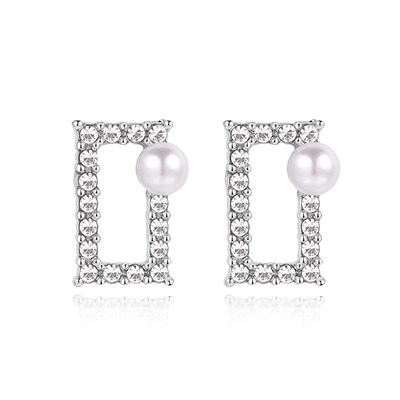 氣質珍珠簍空鑲鑽方形 黏式耳環