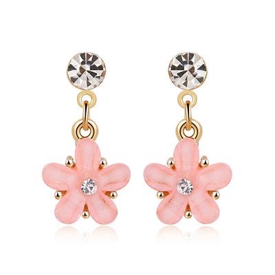 粉嫩鑲鑽花瓣 無耳洞黏貼式耳環