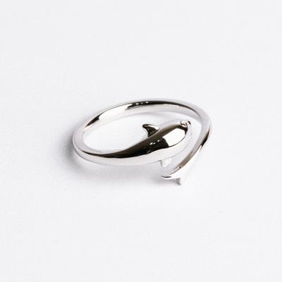 簡約浪漫小海豚開口戒指