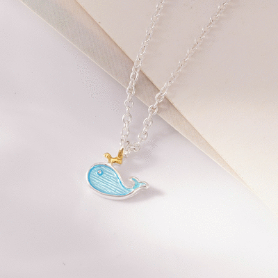 甜美藍色小鯨魚合金項鍊