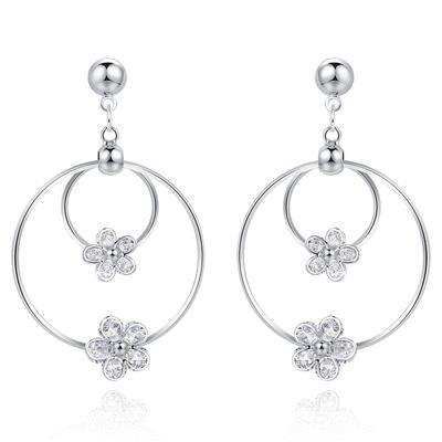 經典時尚圓環花朵鑲鑽 耳針/無耳洞黏貼式耳環