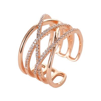 時尚幾何交錯鑲鑽開口戒指