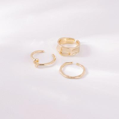 新潮立體不規則形開口戒指(3件組)