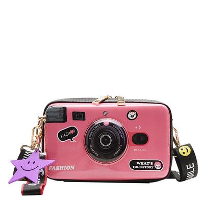 韓版個性撞色側背相機包