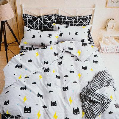 MIT 雙人床/加大雙人床雪紡棉磨毛印花床包 - 四件套