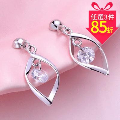 【專區3件★85折】韓系簡約扭轉金屬鑲鑽 耳針/黏式耳環