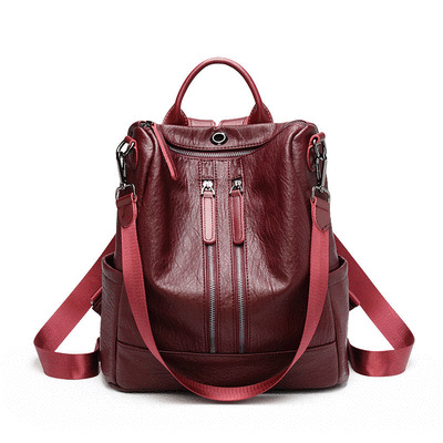 時尚韓版百搭多功能軟皮後背包