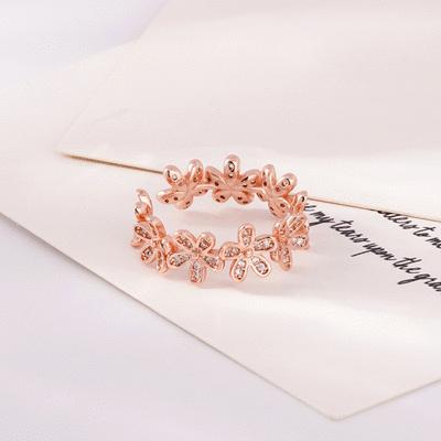 小雛菊花環鑲鑽開口戒指