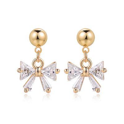 可愛小巧鑲鑽蝴蝶結 黏式耳環