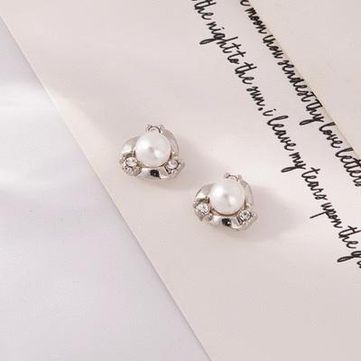 奢華高雅珍珠水鑽 耳針/無耳洞黏貼式耳環