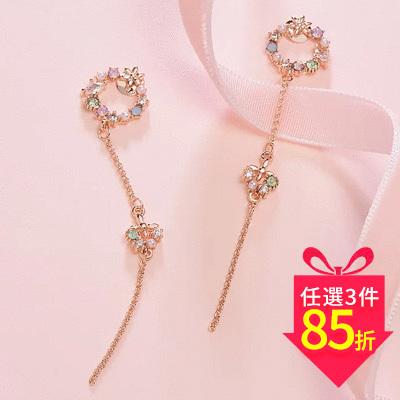 【專區3件★85折】優雅花環蝴蝶流蘇 黏式耳環