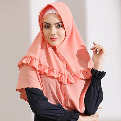穆斯林荷葉花邊泡泡雪紡方便套頭頭巾
