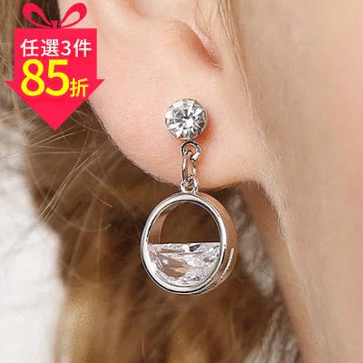 【專區3件★85折】韓系優雅簍空半鑽 耳針/黏式耳環