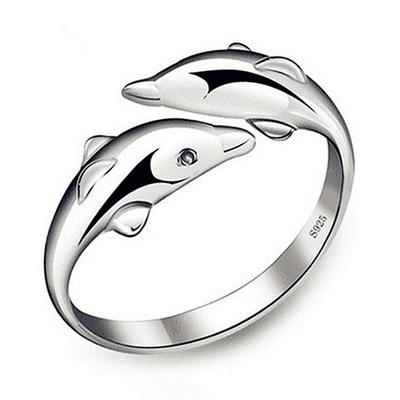 清新簡約雙海豚開口戒指
