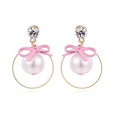 粉嫩珍珠蝴蝶結 耳針/黏式耳環