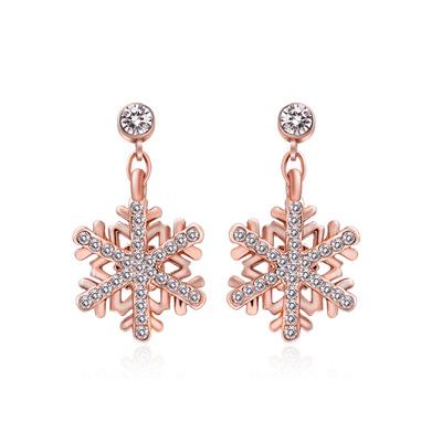 典雅鍍金亮鑽雪花無耳洞貼式耳環