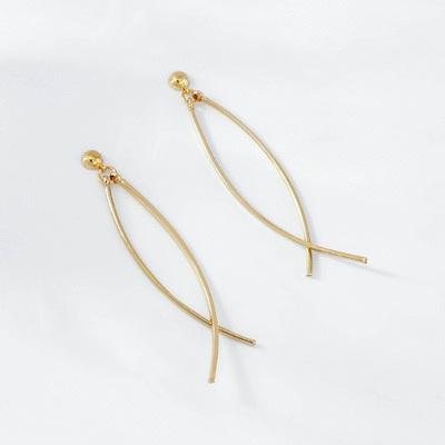 時尚極簡交錯線條 耳針/無耳洞黏貼式耳環