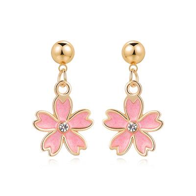 清新簡約鑲鑽櫻花 黏式耳環
